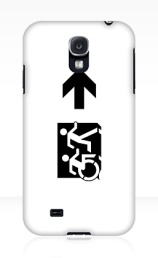 Accessible Means of Egress Icon Exit Sign Wheelchair Wheelie Running Man Symbol by Lee Wilson PWD Disability Emergency Evacuation Samsung Galaxy Case 73