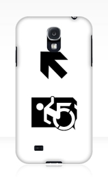 Accessible Means of Egress Icon Exit Sign Wheelchair Wheelie Running Man Symbol by Lee Wilson PWD Disability Emergency Evacuation Samsung Galaxy Case 74