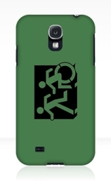 Accessible Means of Egress Icon Exit Sign Wheelchair Wheelie Running Man Symbol by Lee Wilson PWD Disability Emergency Evacuation Samsung Galaxy Case 75