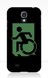 Accessible Means of Egress Icon Exit Sign Wheelchair Wheelie Running Man Symbol by Lee Wilson PWD Disability Emergency Evacuation Samsung Galaxy Case 77
