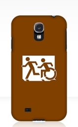 Accessible Means of Egress Icon Exit Sign Wheelchair Wheelie Running Man Symbol by Lee Wilson PWD Disability Emergency Evacuation Samsung Galaxy Case 79