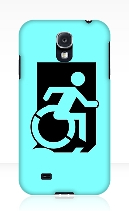 Accessible Means of Egress Icon Exit Sign Wheelchair Wheelie Running Man Symbol by Lee Wilson PWD Disability Emergency Evacuation Samsung Galaxy Case 80
