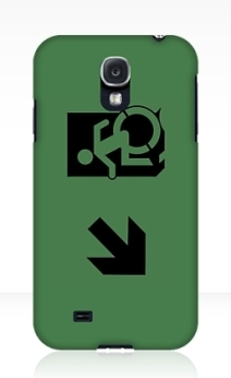 Accessible Means of Egress Icon Exit Sign Wheelchair Wheelie Running Man Symbol by Lee Wilson PWD Disability Emergency Evacuation Samsung Galaxy Case 81