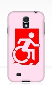 Accessible Means of Egress Icon Exit Sign Wheelchair Wheelie Running Man Symbol by Lee Wilson PWD Disability Emergency Evacuation Samsung Galaxy Case 82