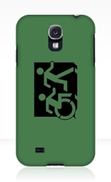 Accessible Means of Egress Icon Exit Sign Wheelchair Wheelie Running Man Symbol by Lee Wilson PWD Disability Emergency Evacuation Samsung Galaxy Case 83