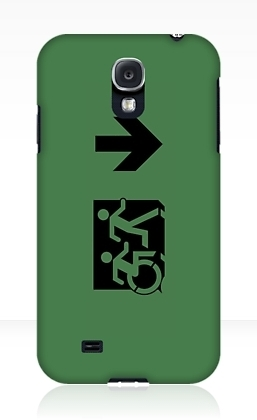 Accessible Means of Egress Icon Exit Sign Wheelchair Wheelie Running Man Symbol by Lee Wilson PWD Disability Emergency Evacuation Samsung Galaxy Case 84