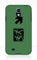Accessible Means of Egress Icon Exit Sign Wheelchair Wheelie Running Man Symbol by Lee Wilson PWD Disability Emergency Evacuation Samsung Galaxy Case 85