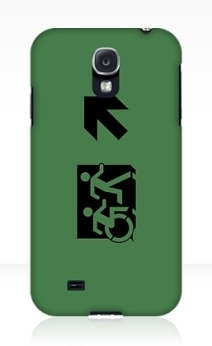 Accessible Means of Egress Icon Exit Sign Wheelchair Wheelie Running Man Symbol by Lee Wilson PWD Disability Emergency Evacuation Samsung Galaxy Case 86
