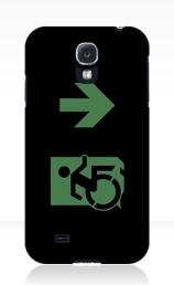 Accessible Means of Egress Icon Exit Sign Wheelchair Wheelie Running Man Symbol by Lee Wilson PWD Disability Emergency Evacuation Samsung Galaxy Case 87