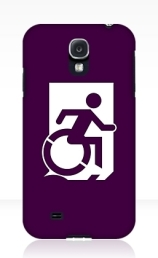 Accessible Means of Egress Icon Exit Sign Wheelchair Wheelie Running Man Symbol by Lee Wilson PWD Disability Emergency Evacuation Samsung Galaxy Case 88