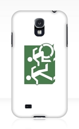 Accessible Means of Egress Icon Exit Sign Wheelchair Wheelie Running Man Symbol by Lee Wilson PWD Disability Emergency Evacuation Samsung Galaxy Case 89