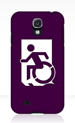 Accessible Means of Egress Icon Exit Sign Wheelchair Wheelie Running Man Symbol by Lee Wilson PWD Disability Emergency Evacuation Samsung Galaxy Case 90