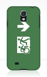 Accessible Means of Egress Icon Exit Sign Wheelchair Wheelie Running Man Symbol by Lee Wilson PWD Disability Emergency Evacuation Samsung Galaxy Case 9