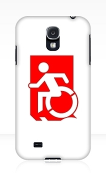 Accessible Means of Egress Icon Exit Sign Wheelchair Wheelie Running Man Symbol by Lee Wilson PWD Disability Emergency Evacuation Samsung Galaxy Case 92
