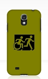 Accessible Means of Egress Icon Exit Sign Wheelchair Wheelie Running Man Symbol by Lee Wilson PWD Disability Emergency Evacuation Samsung Galaxy Case 94