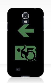 Accessible Means of Egress Icon Exit Sign Wheelchair Wheelie Running Man Symbol by Lee Wilson PWD Disability Emergency Evacuation Samsung Galaxy Case 95