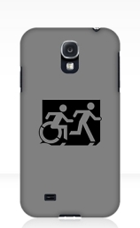 Accessible Means of Egress Icon Exit Sign Wheelchair Wheelie Running Man Symbol by Lee Wilson PWD Disability Emergency Evacuation Samsung Galaxy Case 96