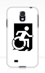 Accessible Means of Egress Icon Exit Sign Wheelchair Wheelie Running Man Symbol by Lee Wilson PWD Disability Emergency Evacuation Samsung Galaxy Case 98