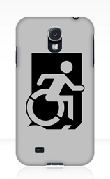 Accessible Means of Egress Icon Exit Sign Wheelchair Wheelie Running Man Symbol by Lee Wilson PWD Disability Emergency Evacuation Samsung Galaxy Case 99