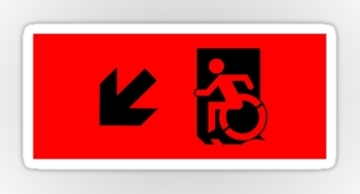 Accessible Means of Egress Icon Exit Sign Wheelchair Wheelie Running Man Symbol by Lee Wilson PWD Disability Emergency Evacuation Sticker 10