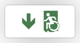 Accessible Means of Egress Icon Exit Sign Wheelchair Wheelie Running Man Symbol by Lee Wilson PWD Disability Emergency Evacuation Sticker 100