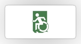 Accessible Means of Egress Icon Exit Sign Wheelchair Wheelie Running Man Symbol by Lee Wilson PWD Disability Emergency Evacuation Sticker 101