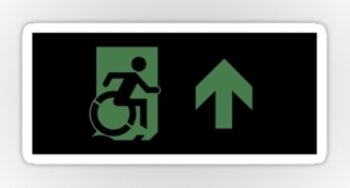 Accessible Means of Egress Icon Exit Sign Wheelchair Wheelie Running Man Symbol by Lee Wilson PWD Disability Emergency Evacuation Sticker 102