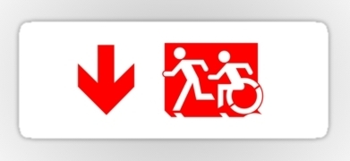 Accessible Means of Egress Icon Exit Sign Wheelchair Wheelie Running Man Symbol by Lee Wilson PWD Disability Emergency Evacuation Sticker 103