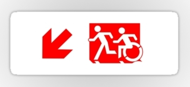 Accessible Means of Egress Icon Exit Sign Wheelchair Wheelie Running Man Symbol by Lee Wilson PWD Disability Emergency Evacuation Sticker 104