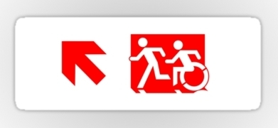 Accessible Means of Egress Icon Exit Sign Wheelchair Wheelie Running Man Symbol by Lee Wilson PWD Disability Emergency Evacuation Sticker 105