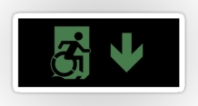 Accessible Means of Egress Icon Exit Sign Wheelchair Wheelie Running Man Symbol by Lee Wilson PWD Disability Emergency Evacuation Sticker 106