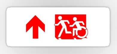 Accessible Means of Egress Icon Exit Sign Wheelchair Wheelie Running Man Symbol by Lee Wilson PWD Disability Emergency Evacuation Sticker 107
