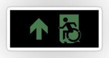 Accessible Means of Egress Icon Exit Sign Wheelchair Wheelie Running Man Symbol by Lee Wilson PWD Disability Emergency Evacuation Sticker 108