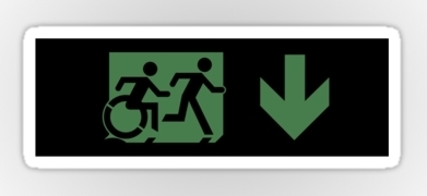Accessible Means of Egress Icon Exit Sign Wheelchair Wheelie Running Man Symbol by Lee Wilson PWD Disability Emergency Evacuation Sticker 109