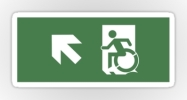 Accessible Means of Egress Icon Exit Sign Wheelchair Wheelie Running Man Symbol by Lee Wilson PWD Disability Emergency Evacuation Sticker 110