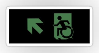 Accessible Means of Egress Icon Exit Sign Wheelchair Wheelie Running Man Symbol by Lee Wilson PWD Disability Emergency Evacuation Sticker 111