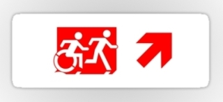 Accessible Means of Egress Icon Exit Sign Wheelchair Wheelie Running Man Symbol by Lee Wilson PWD Disability Emergency Evacuation Sticker 112