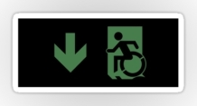 Accessible Means of Egress Icon Exit Sign Wheelchair Wheelie Running Man Symbol by Lee Wilson PWD Disability Emergency Evacuation Sticker 113