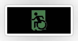 Accessible Means of Egress Icon Exit Sign Wheelchair Wheelie Running Man Symbol by Lee Wilson PWD Disability Emergency Evacuation Sticker 114