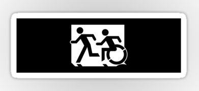 Accessible Means of Egress Icon Exit Sign Wheelchair Wheelie Running Man Symbol by Lee Wilson PWD Disability Emergency Evacuation Sticker 115