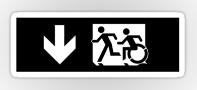 Accessible Means of Egress Icon Exit Sign Wheelchair Wheelie Running Man Symbol by Lee Wilson PWD Disability Emergency Evacuation Sticker 116