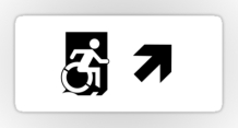 Accessible Means of Egress Icon Exit Sign Wheelchair Wheelie Running Man Symbol by Lee Wilson PWD Disability Emergency Evacuation Sticker 117