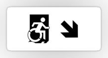 Accessible Means of Egress Icon Exit Sign Wheelchair Wheelie Running Man Symbol by Lee Wilson PWD Disability Emergency Evacuation Sticker 118