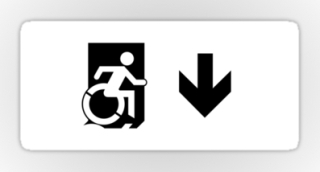 Accessible Means of Egress Icon Exit Sign Wheelchair Wheelie Running Man Symbol by Lee Wilson PWD Disability Emergency Evacuation Sticker 119