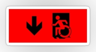Accessible Means of Egress Icon Exit Sign Wheelchair Wheelie Running Man Symbol by Lee Wilson PWD Disability Emergency Evacuation Sticker 12