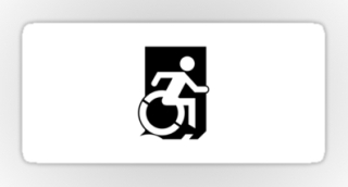 Accessible Means of Egress Icon Exit Sign Wheelchair Wheelie Running Man Symbol by Lee Wilson PWD Disability Emergency Evacuation Sticker 120
