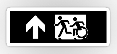 Accessible Means of Egress Icon Exit Sign Wheelchair Wheelie Running Man Symbol by Lee Wilson PWD Disability Emergency Evacuation Sticker 121