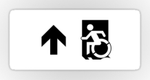 Accessible Means of Egress Icon Exit Sign Wheelchair Wheelie Running Man Symbol by Lee Wilson PWD Disability Emergency Evacuation Sticker 122