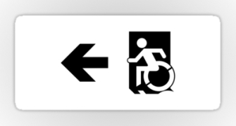 Accessible Means of Egress Icon Exit Sign Wheelchair Wheelie Running Man Symbol by Lee Wilson PWD Disability Emergency Evacuation Sticker 123