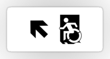 Accessible Means of Egress Icon Exit Sign Wheelchair Wheelie Running Man Symbol by Lee Wilson PWD Disability Emergency Evacuation Sticker 124